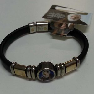 RA0017 - RUBBER BRACELET WITH IMAGE OF PADRE PIO