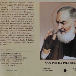 RA0030B - PADRE PIO RELIC – PRAYER CARD